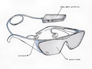Artist's concept of 40-hertz light therapy glasses